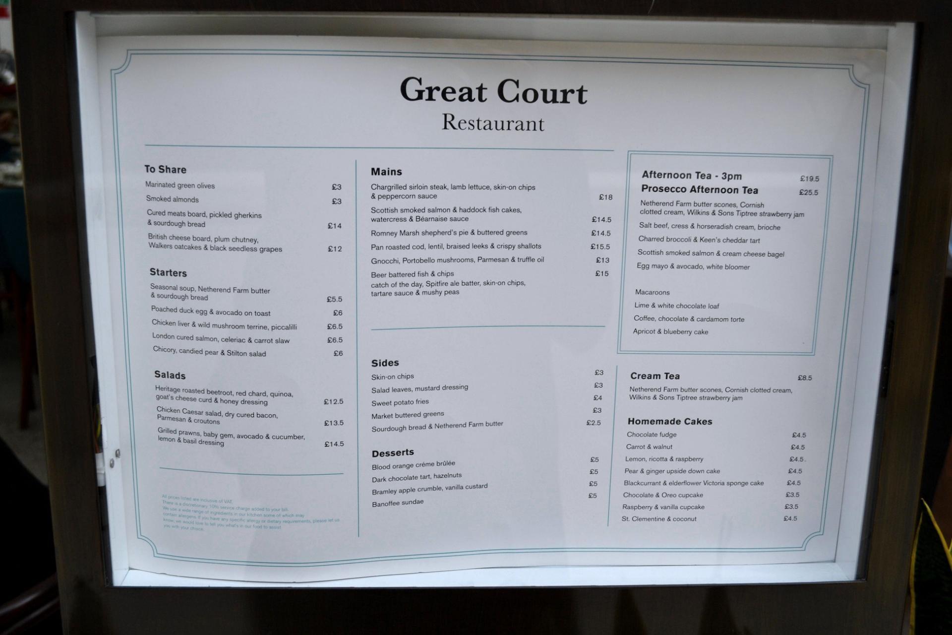 Restaurante del Museo Británico de Londres
