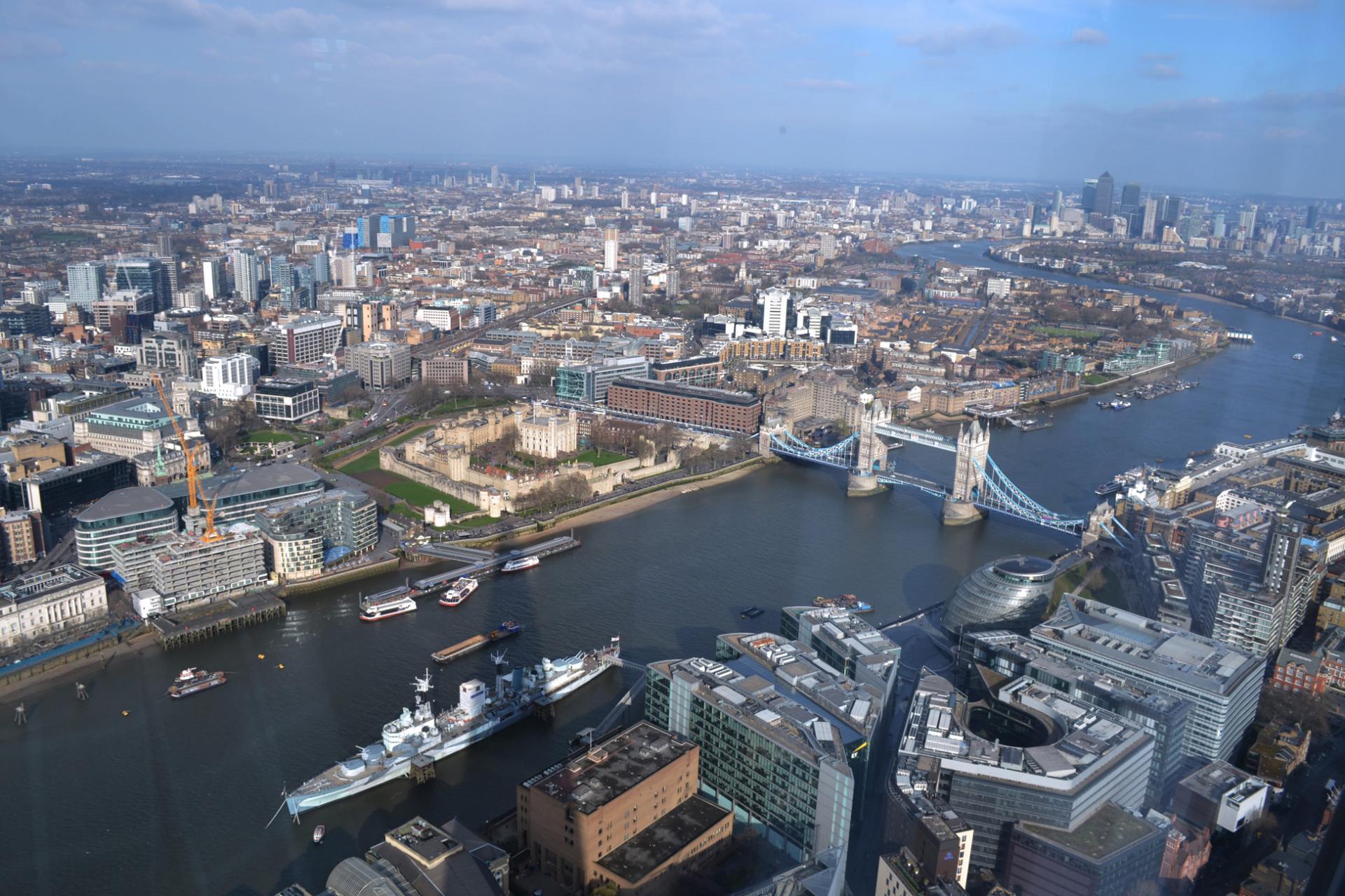 Tower Bridge visto desde el mirador del The Shard